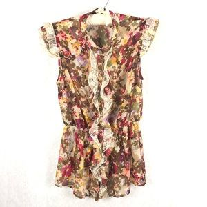Sunny Leigh Ruffled Floral Sheer Blouse M